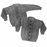 Yankee Knitter Designs 19 Child's Aran Sweater Pullover or Cardigan